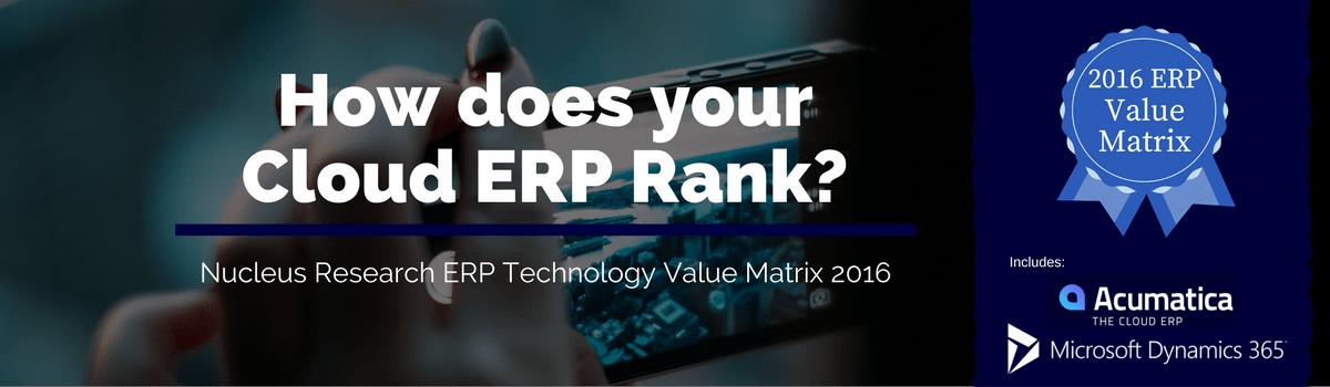 Nucleus Research ERP Technology Value Matrix 2016