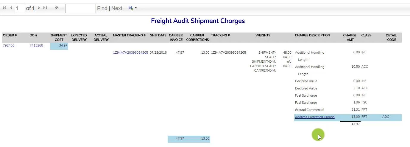 Freight Audit Address Correction